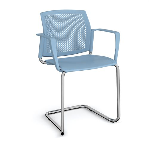 Santana cantilever chair with plastic seat and perforated back and chrome frame and fixed arms - blue