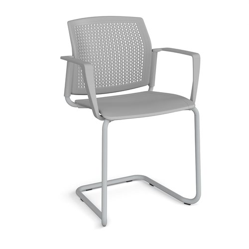 Santana cantilever chair with plastic seat and perforated back and grey frame and fixed arms - grey