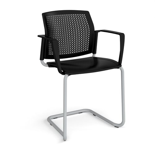 Santana cantilever chair with plastic seat and perforated back and grey frame and fixed arms - black