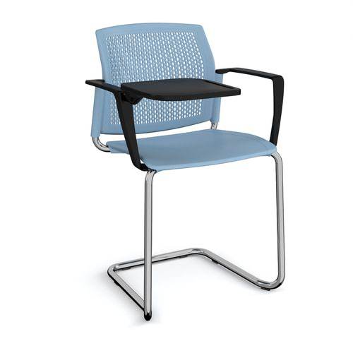 Santana cantilever chair with plastic seat and perforated back and chrome frame with arms and writing tablet - blue