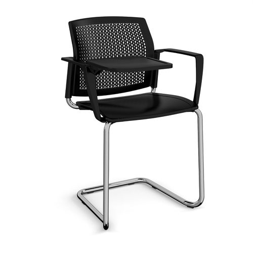 Santana cantilever chair with plastic seat and perforated back and chrome frame with arms and writing tablet - black