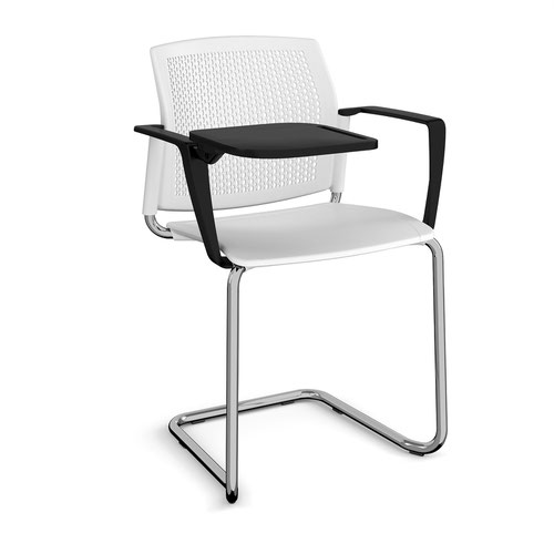 Santana cantilever chair with plastic seat and perforated back and chrome frame with arms and writing tablet - white