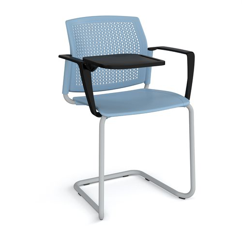 Santana cantilever chair with plastic seat and perforated back and grey frame with arms and writing tablet - blue