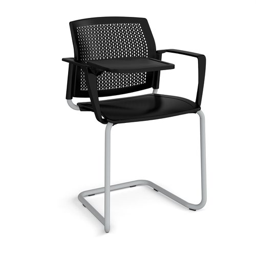 Santana cantilever chair with plastic seat and perforated back and grey frame with arms and writing tablet - black