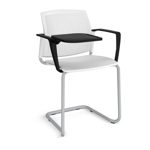 Santana cantilever chair with plastic seat and perforated back and grey frame with arms and writing tablet - white