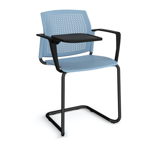 Santana cantilever chair with plastic seat and perforated back and black frame with arms and writing tablet - blue