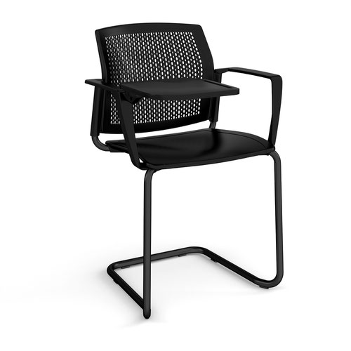 Santana cantilever chair with plastic seat and perforated back and black frame with arms and writing tablet - black