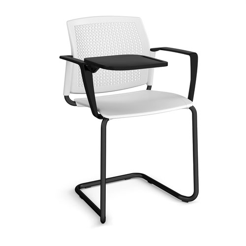 Santana cantilever chair with plastic seat and perforated back and black frame with arms and writing tablet - white