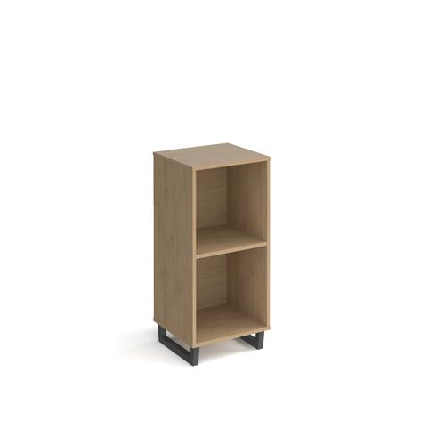 Sparta cube storage unit 950mm high with 2 open boxes and charcoal A-frame legs - oak