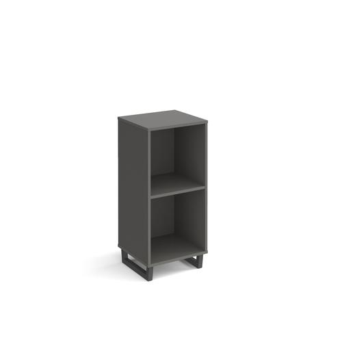 Sparta cube storage unit 950mm high with 2 open boxes and charcoal A-frame legs - grey