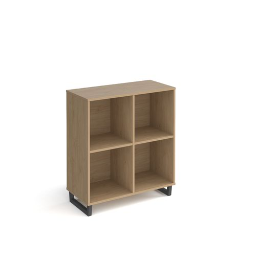 Sparta cube storage unit 950mm high with 4 open boxes and charcoal A-frame legs - oak