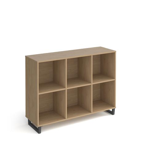 Sparta cube storage unit 950mm high with 6 open boxes and charcoal A-frame legs - oak