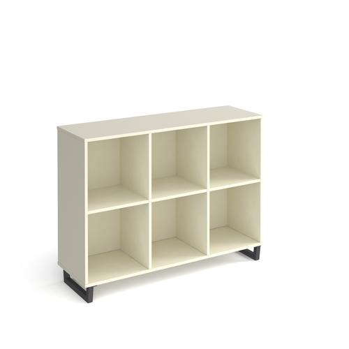 Sparta cube storage unit 950mm high with 6 open boxes and charcoal A-frame legs - white