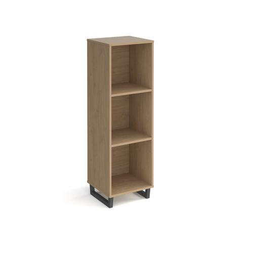 Sparta cube storage unit 1370mm high with 3 open boxes and charcoal A-frame legs - oak