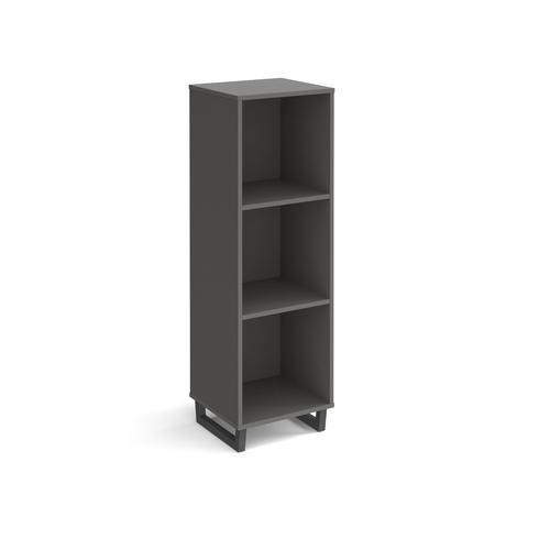 Sparta cube storage unit 1370mm high with 3 open boxes and charcoal A-frame legs - grey