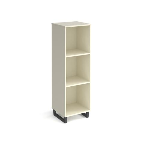 Sparta cube storage unit 1370mm high with 3 open boxes and charcoal A-frame legs - white