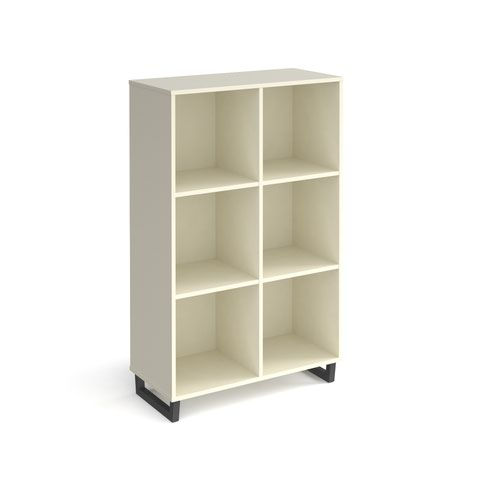 Sparta cube storage unit 1370mm high with 6 open boxes and charcoal A-frame legs - white