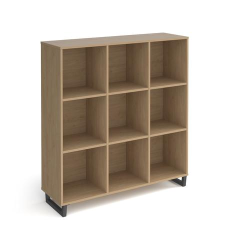 Sparta cube storage unit 1370mm high with 9 open boxes and charcoal A-frame legs - oak