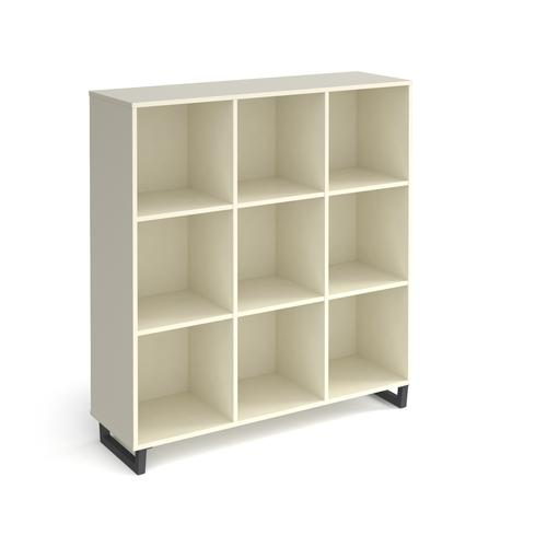 Sparta cube storage unit 1370mm high with 9 open boxes and charcoal A-frame legs - white
