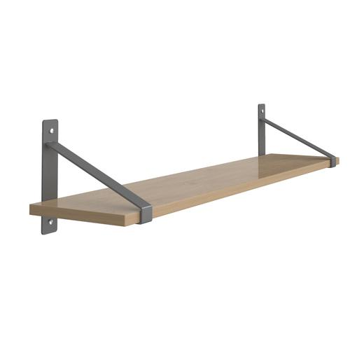 Sparta wall shelf 1000mm wide with fixed shelf support brackets - oak