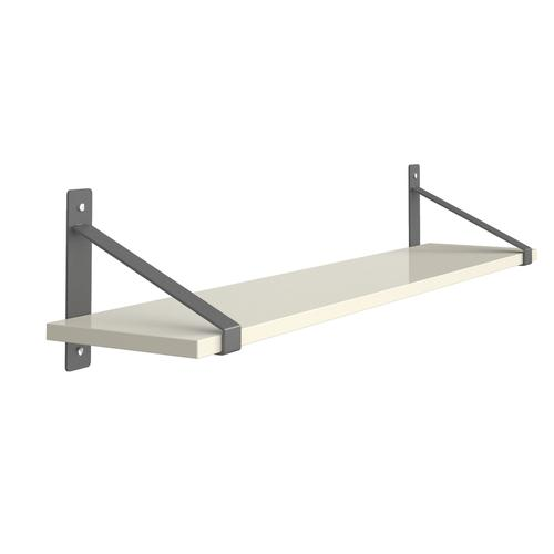 Sparta wall shelf 1000mm wide with fixed shelf support brackets - white