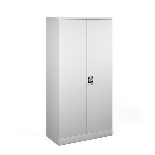 Steel contract cupboard with 3 shelves 1830mm high - light grey