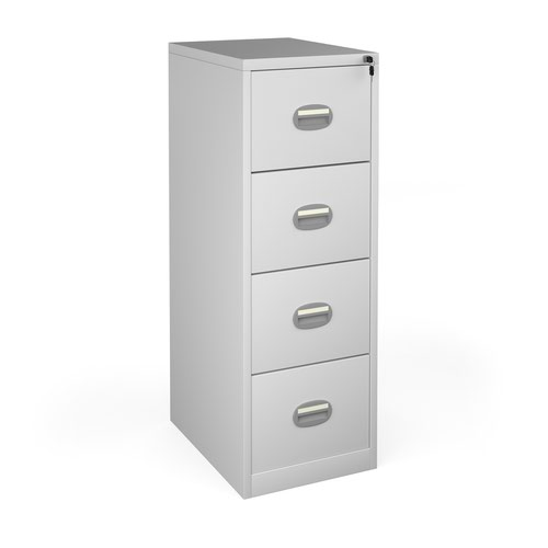 Steel 4 drawer contract filing cabinet 1320mm high - light grey
