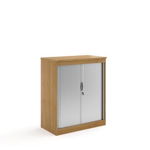 Systems horizontal tambour door cupboard 1200mm high - oak