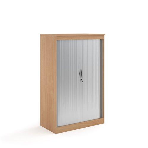 Systems horizontal tambour door cupboard 1600mm high - beech