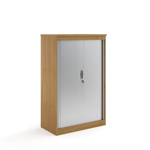 Systems horizontal tambour door cupboard 1600mm high - oak