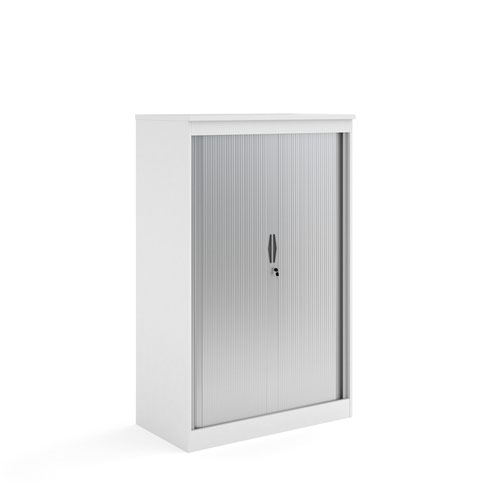 Systems horizontal tambour door cupboard 1600mm high - white