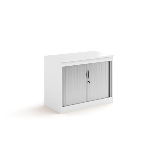 Systems horizontal tambour door cupboard 800mm high - white