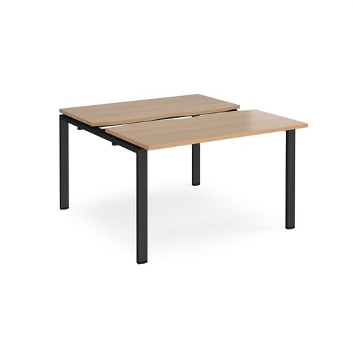 Adapt sliding top back to back desks 1200mm x 1200mm - black frame and beech top
