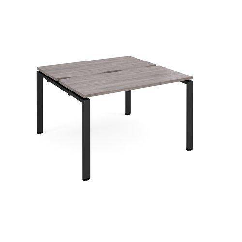 Adapt sliding top back to back desks 1200mm x 1200mm - black frame and grey oak top