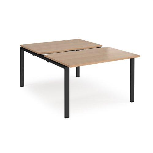 Adapt sliding top back to back desks 1200mm x 1600mm - black frame and beech top