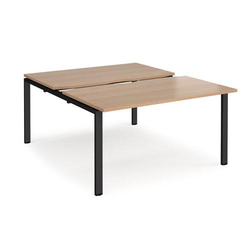 Adapt sliding top back to back desks 1400mm x 1600mm - black frame and beech top