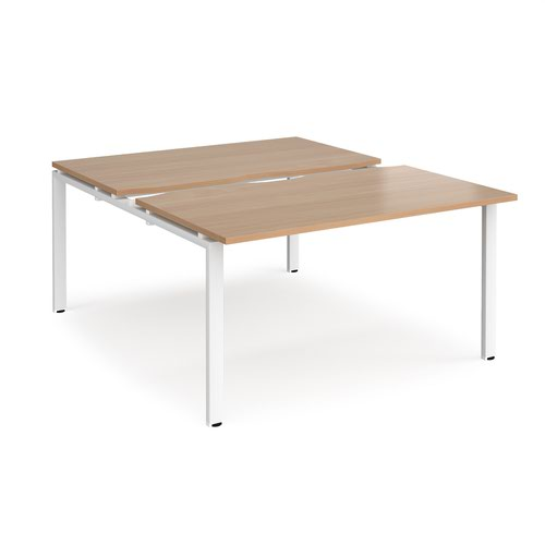 Adapt sliding top back to back desks 1400mm x 1600mm - white frame and beech top