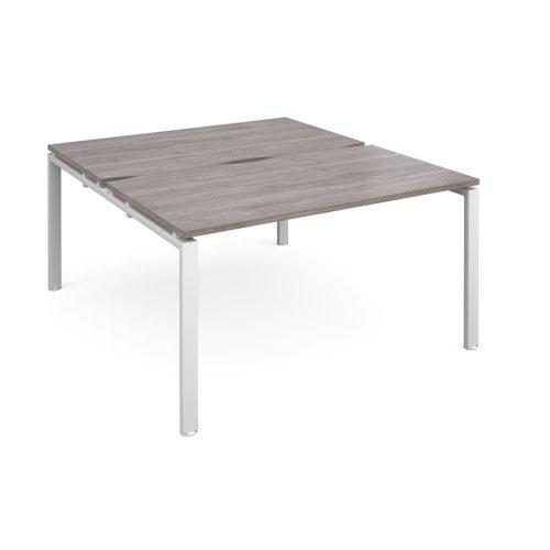 Adapt sliding top back to back desks 1400mm x 1600mm - white frame and grey oak top
