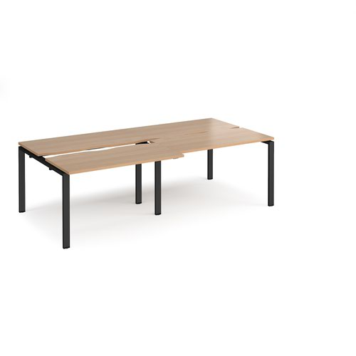 Adapt sliding top double back to back desks 2400mm x 1200mm - black frame and beech top