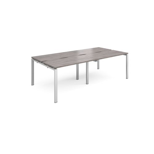 Adapt sliding top double back to back desks 2400mm x 1200mm - silver frame and grey oak top