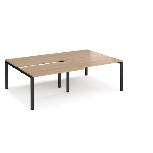 Adapt sliding top double back to back desks 2400mm x 1600mm - black frame and beech top