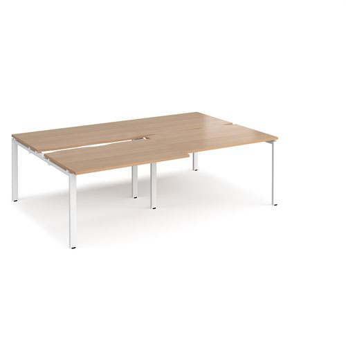 Adapt sliding top double back to back desks 2400mm x 1600mm - white frame and beech top