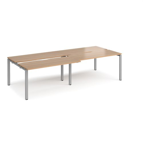 Adapt sliding top double back to back desks 2800mm x 1200mm - silver frame and beech top