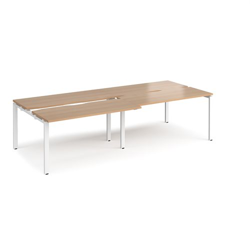 Adapt sliding top double back to back desks 2800mm x 1200mm - white frame and beech top