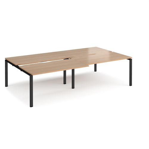 Adapt sliding top double back to back desks 2800mm x 1600mm - black frame and beech top