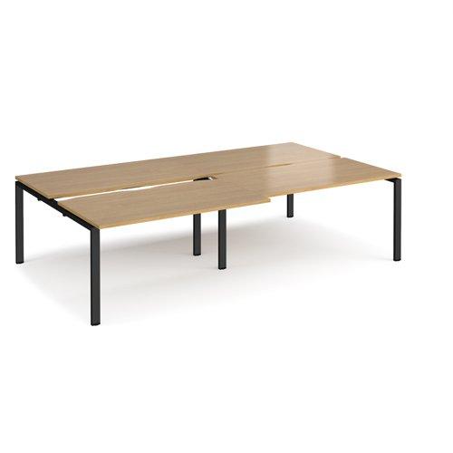 Adapt sliding top double back to back desks 2800mm x 1600mm - black frame and oak top