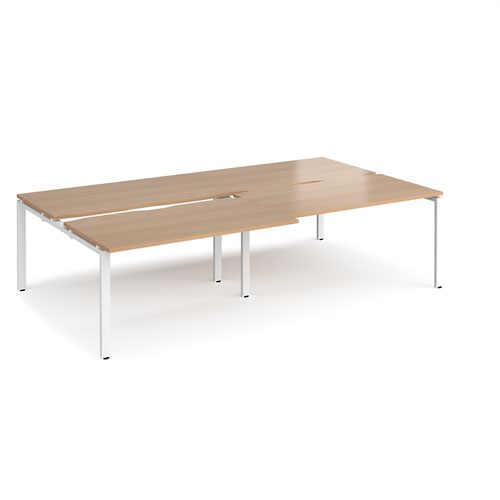 Adapt sliding top double back to back desks 2800mm x 1600mm - white frame and beech top
