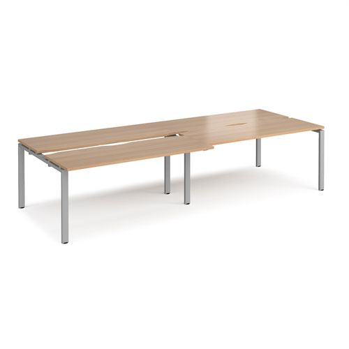 Adapt sliding top double back to back desks 3200mm x 1200mm - silver frame and beech top