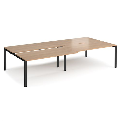 Adapt sliding top double back to back desks 3200mm x 1600mm - black frame and beech top