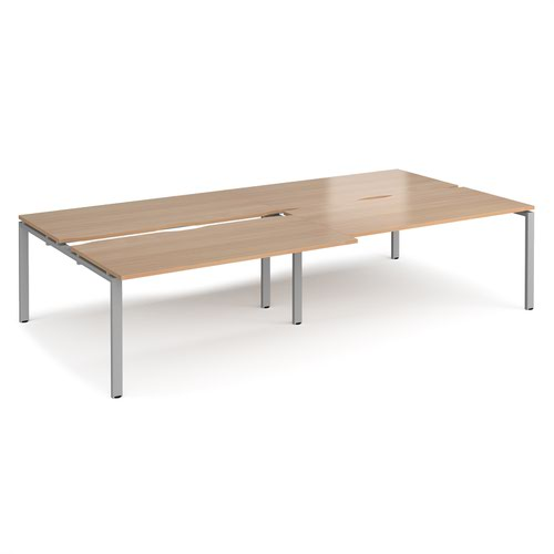 Adapt sliding top double back to back desks 3200mm x 1600mm - silver frame and beech top